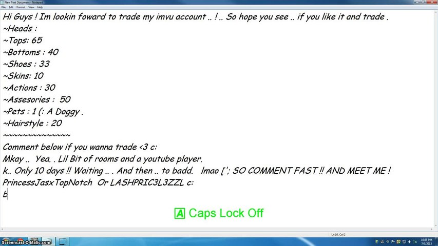 PlayerUp com - Account Marketplace - ▶ Imvu Selling Account Of July  !!    10 DAYS ONLY