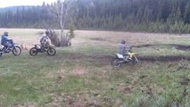 Dirtbike Mud Fight 2012! Rm 250 vs Rm 144 vs Rm 125 vs Yz 125  PART 1