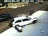 Accident of lady and a child but saved