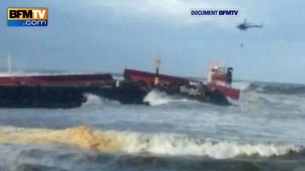 Anglet: images impressionnantes du cargo cassé en deux - 05/02