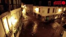 Tempête Qumaira. Les inondations de Quimper vues du ciel