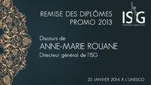 Remise des diplômes ISG promo 2013 - Discours d'Anne-Marie Rouane