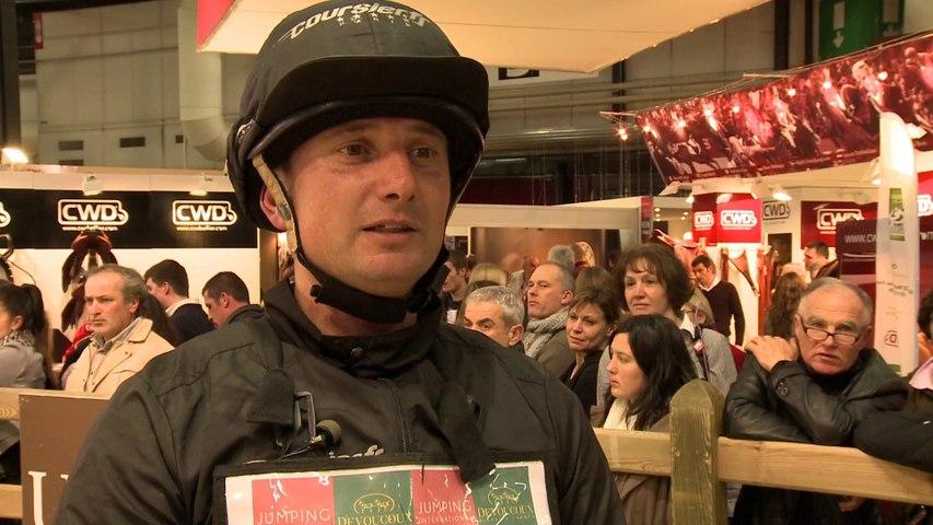 interview Eddy SANS vainqueur de l'Indoor Derby du Jumping de Bordeaux 2014