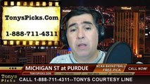 Purdue Boilermakers vs. Michigan St Spartans Pick Prediction NCAA College Basketball Odds Preview 2-20-2014