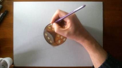 Hyperrealistic Speed Drawing of a Wooden Dice