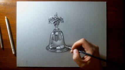 Hyperrealistic Speed Drawing of a Silver Bell with Grape Motif by Marcello Barenghi