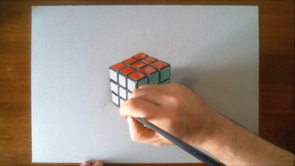Hyperrealistic Speed Drawing of a Rubik's Cube by Marcello Barenghi