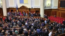 Ukraine protests: Fight breaks out in parliament building