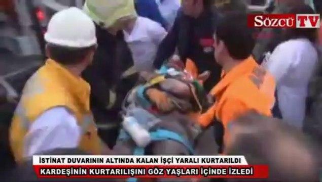İstinat duvarının altında kalan işçi yaralı kurtarıldı