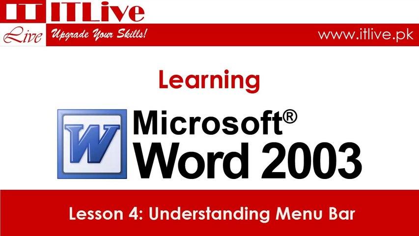 4 - Understating Menu Bar in Word 2003 (Urdu / Hindi)