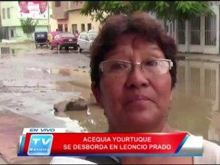 Chiclayo: Acequia Yourtuque se desborda en Leoncio Prado 24 01 14