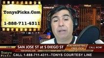 San Diego St Aztecs vs. San Jose St Spartans Pick Prediction NCAA College Basketball Odds Preview 2-25-2014
