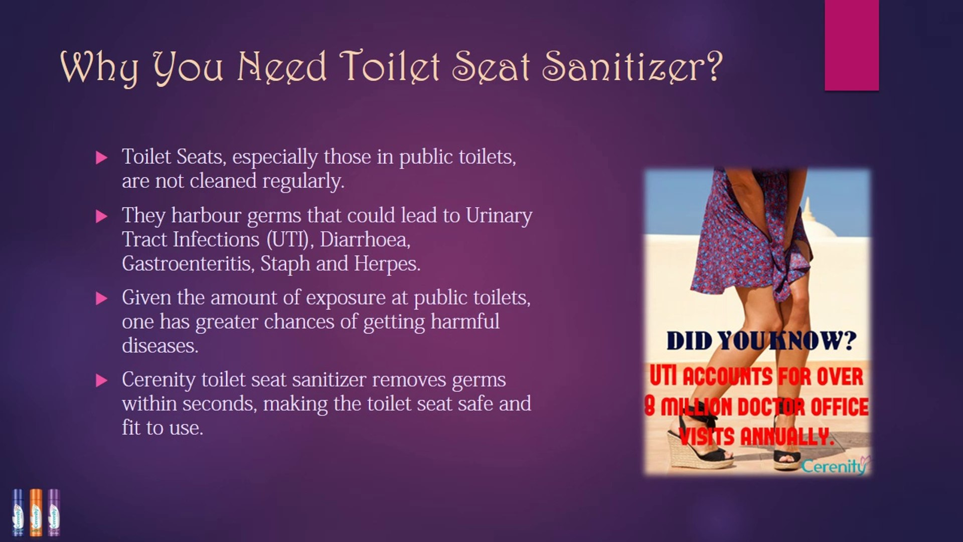 Tremendous Toilet Seat Sanitizer From Cerenity Video Dailymotion Bralicious Painted Fabric Chair Ideas Braliciousco