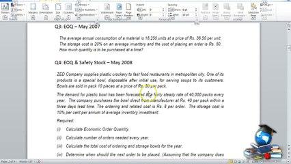 Q3 - Material Costing_EOQ Basics