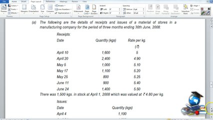 Q8 - Material Costing_FIFO stock levels