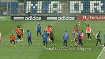 Real Madrid training before derbi Cristiano Ronaldo Sergio Ramos Gareth Bale Benzema