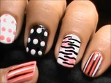 Zebra Nails with Polka Dots - Short Nails Nail Art Designs How To and Art Design Nail Art Beginners