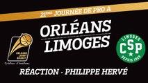 Réaction de Philippe Hervé - J21 - Orléans reçoit le CSP Limoges