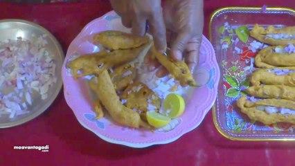 Ulli Mirchi Bajji - Green Chily Onion Bajji Preparation in Telugu
