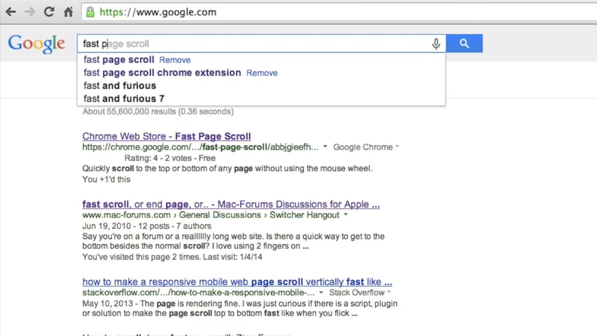 Fast Page Scroll