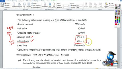 Q7 - Material Costing_EOQ & Interest Rate