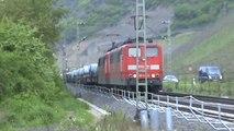 Züge zwischen Hammerstein Leutesdorf, MRCE 185, HGK 185, 2x 151, 152, 2x 189, DB 185, 101, 2x 425