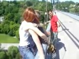 Girl Bungee Jumping Without Harness - Risky Bungee Jump