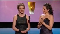 Zoie Palmer get the Trophy & Presentation w/Anna Silk CdnAwards2014