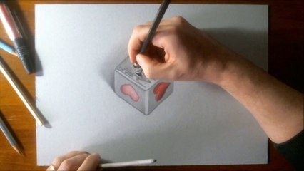 Hyperrealistic speed drawing of a card square dice pendant