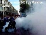 MOTO Burn police crash donut le mans