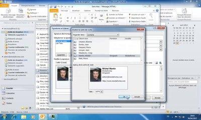 Outlook | ajouter une carte de visite dans un e-mail