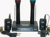 Hisonic Dual Wireless Microphone System with 2 Handheld & 2 Lapel Microphones, HS596B