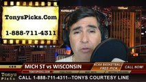 Wisconsin Badgers vs. Michigan St Spartans Pick Prediction NCAA College Basketball Odds Preview 3-15-2014