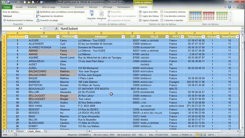 Excel 2010 : Supprimer les doublons dans une base de données