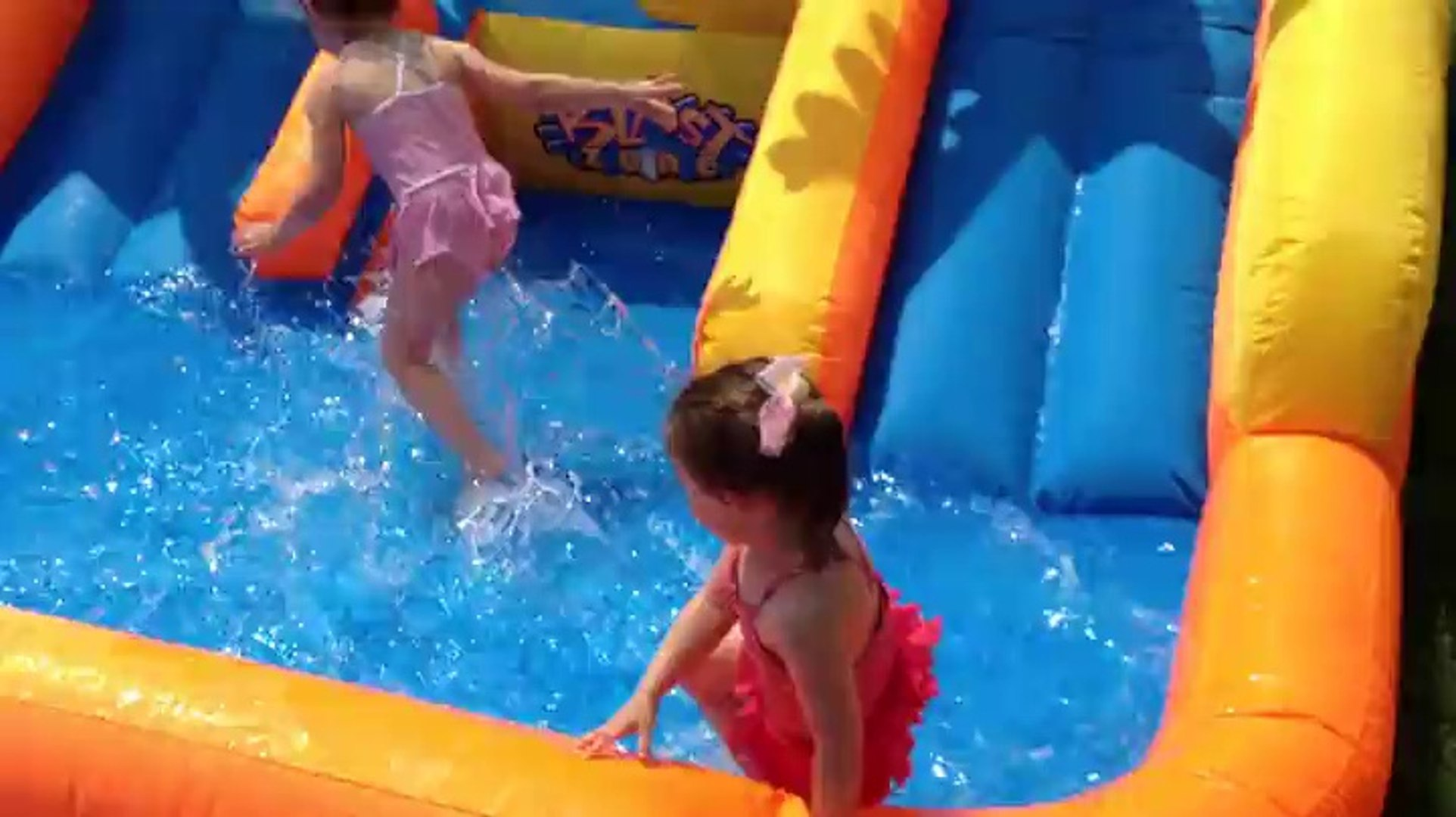 Image of: Blast Zone Rainforest Rapids Inflatable Bouncer With Slides Is Awesome On Hot Summer Days Video Dailymotion