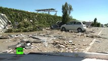 Tornado Close Up: Flying debris as twister rips through Italian province