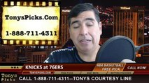 Philadelphia 76ers vs. New York Knicks Pick Prediction NBA Pro Basketball Point Spread Betting Line Odds Preview 3-21-2014
