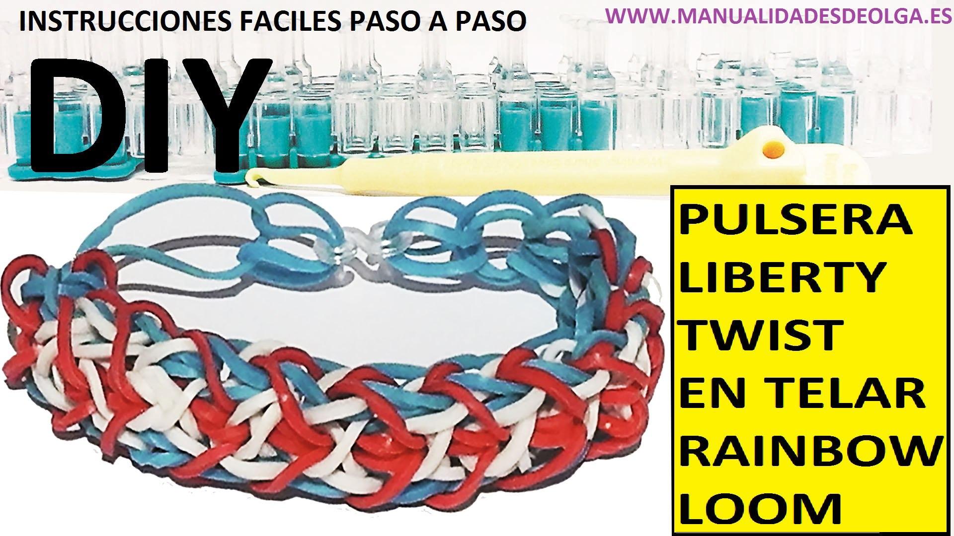 d4b3f6c5a484 COMO HACER PULSERA DE GOMITAS MODELO LIBERTY TWIST EN TELAR RAINBOW LOOM  TUTORIAL ESPAÑOL DIY