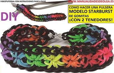 COMO HACER UNA PULSERA DE GOMITAS STARBURST CON 2 TENEDORES SIN TELAR RAINBOW LOOM