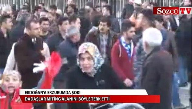 Erdoğan'ın miting alanını böyle terk ettiler!