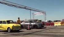Nissan GTR Vs. old collection car! The Trabant car wins!