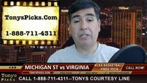 Virginia Cavaliers vs. Michigan St Spartans Pick Prediction NCAA College Basketball Odds Preview 3-28-2014