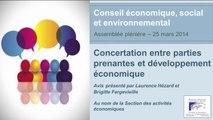 25 mars 2014 : Concertation entre parties prenantes et développement économique - cese