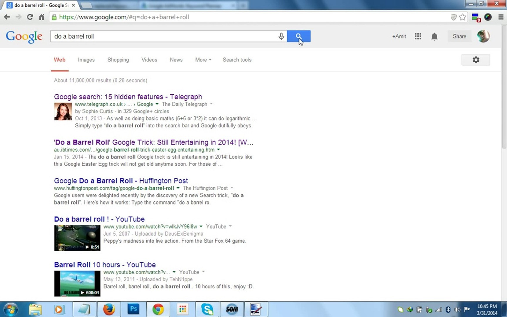 Google tricks barrel roll do Do barrel