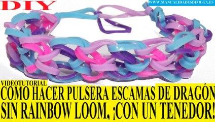 e886696ada12 COMO HACER PULSERA ESCAMAS DE DRAGON DE GOMITAS ¡CON UN TENEDOR! SIN ...