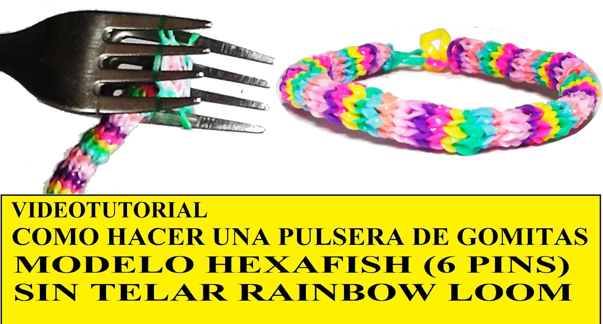 b43e052f2623 COMO HACER PULSERA HEXAFISH (6 PINS) ¡CON DOS TENEDORES! SIN TELAR TUTORIAL  ESPAÑOL DIY