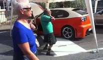 Crazy old guy dancing during auto tunning show...