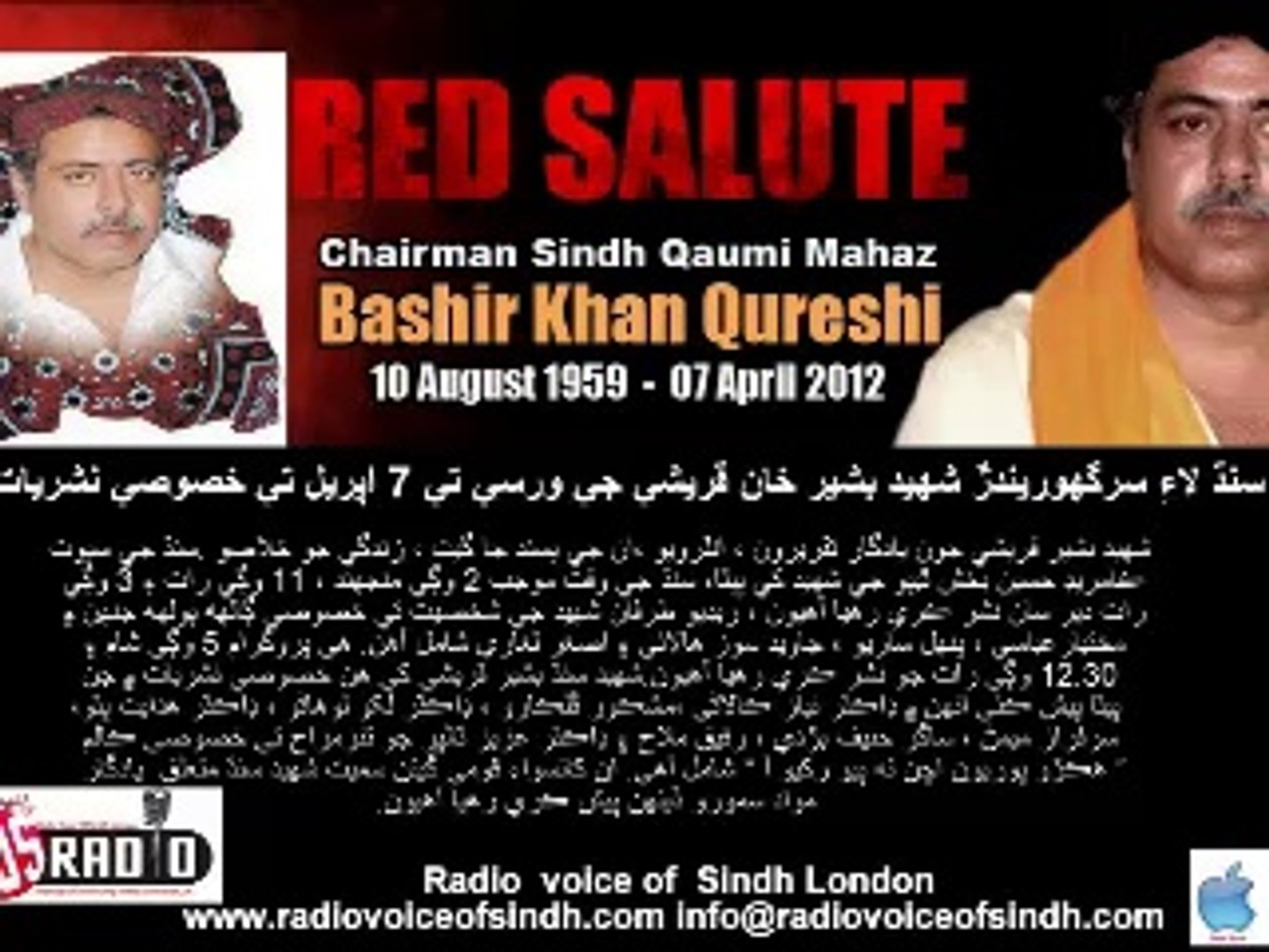 Comments on Bashir Khan Qureshi inSpecial Transmission of Anniversary By  Radio Voice of Sindh London Part 2