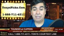 LA Clippers vs. Oklahoma City Thunder Pick Prediction NBA Pro Basketball Odds Preview 4-9-2014