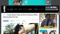 Emma Roberts Flips The Bird At Paparazzi While Debuting New Pink Hair